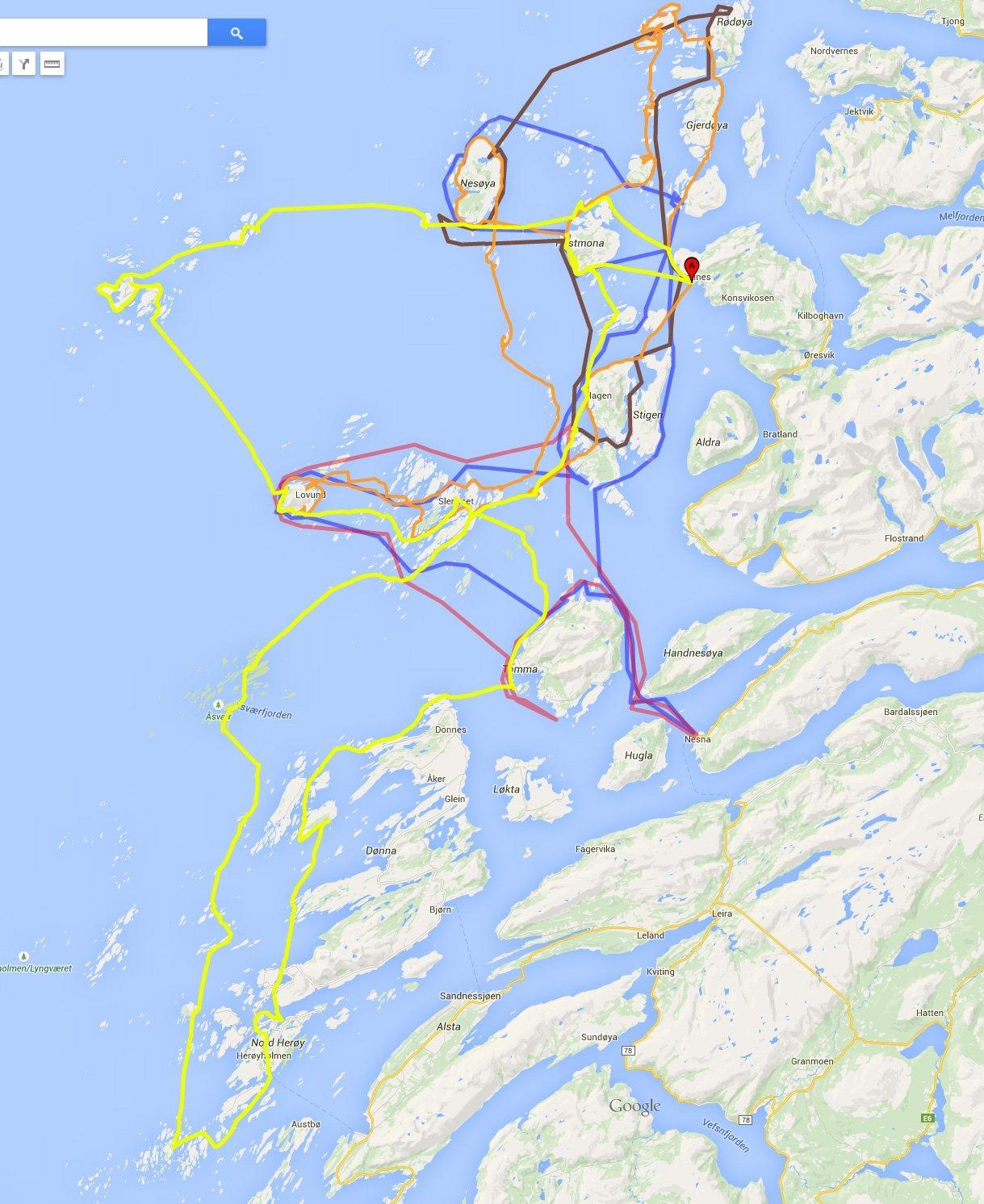 Våra färdspår på Helgelandskusten. Färdspår för nedladdning finns under respektive turberättelse