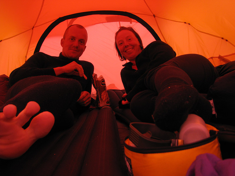 I tältet hela dan, skönt det med!