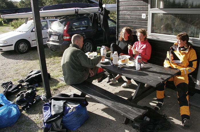 Frukost på campingen, här vid Malmöstugan