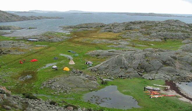 Mulen vy uppifrån Rävholmen. Regnat en del så finns även en tillfällig insjö på ön