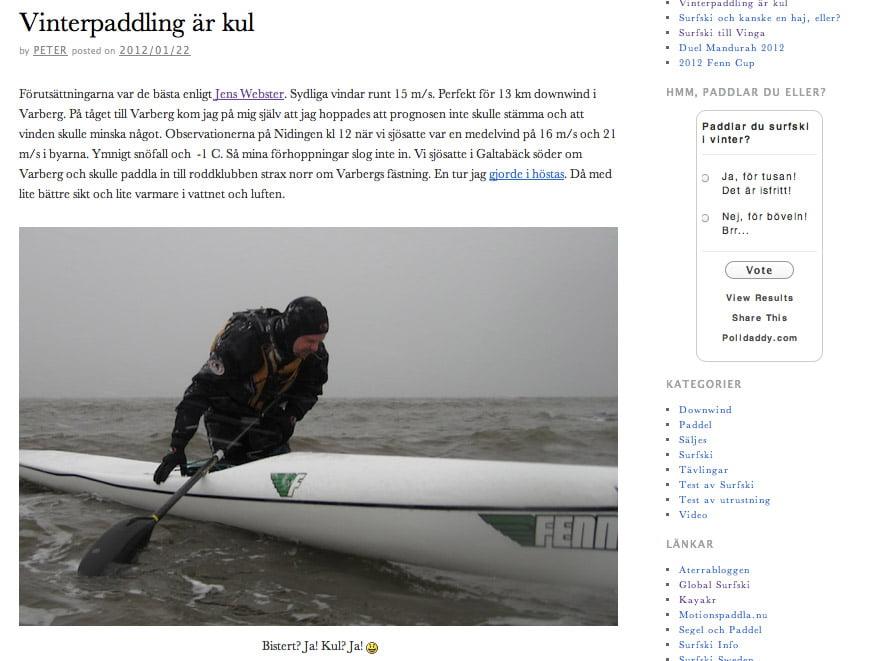 Surfski.nu - med en badande Peter Svensson