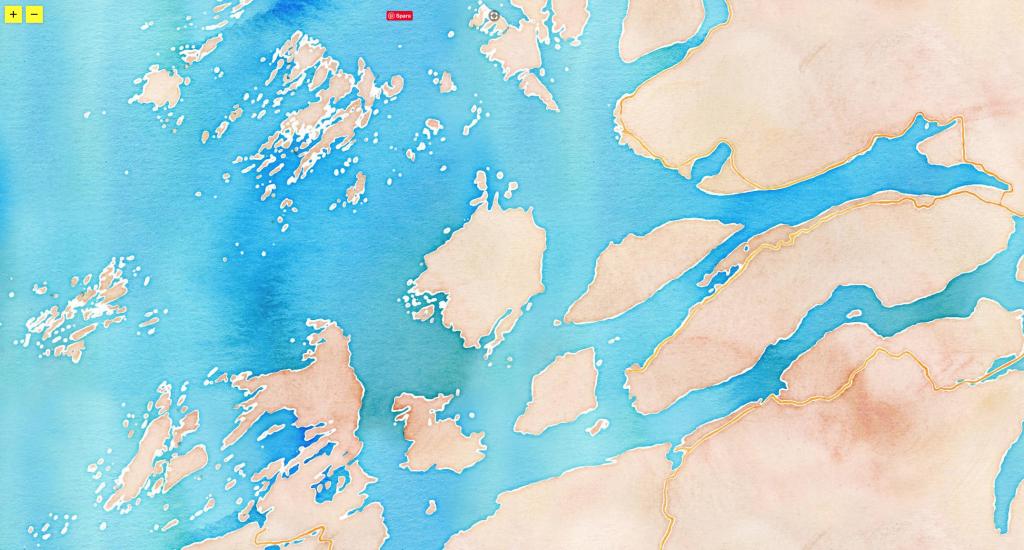 Vattenfärgskarta över en del av Helgelandskusten
