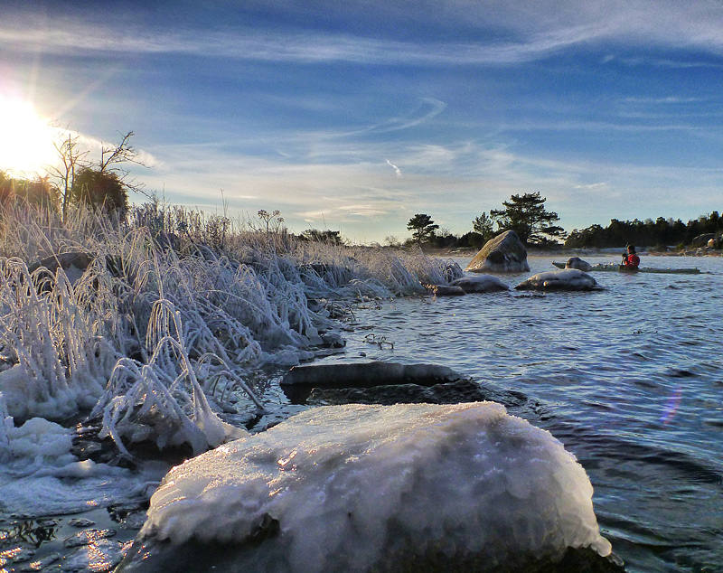 Frostigt och fint ljus vid Svinskär på måndagsförmiddagen