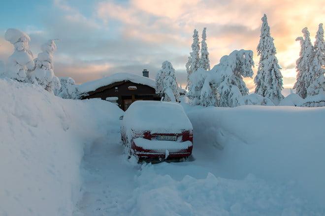 Mycket snö redan när vi anlände och en vecka senare såg det ut så här