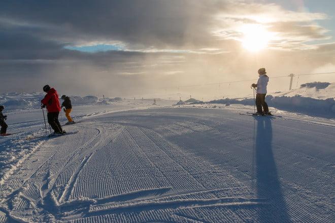 Snabbt ut i backen och upp på toppen när solen tittade fram på lördagsmorgonen