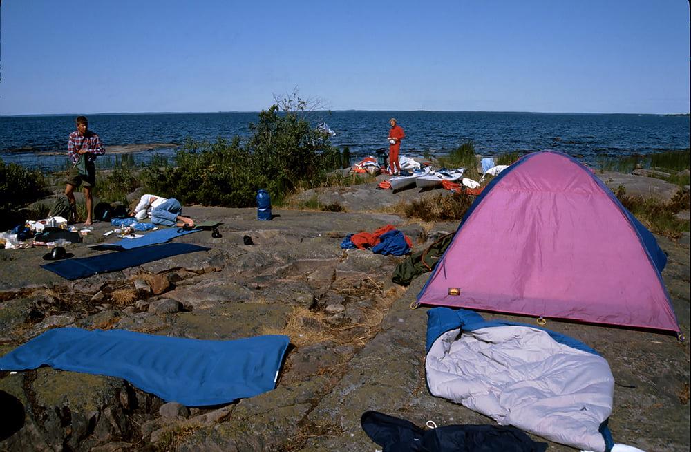 Läger på en udde i norra Vänern