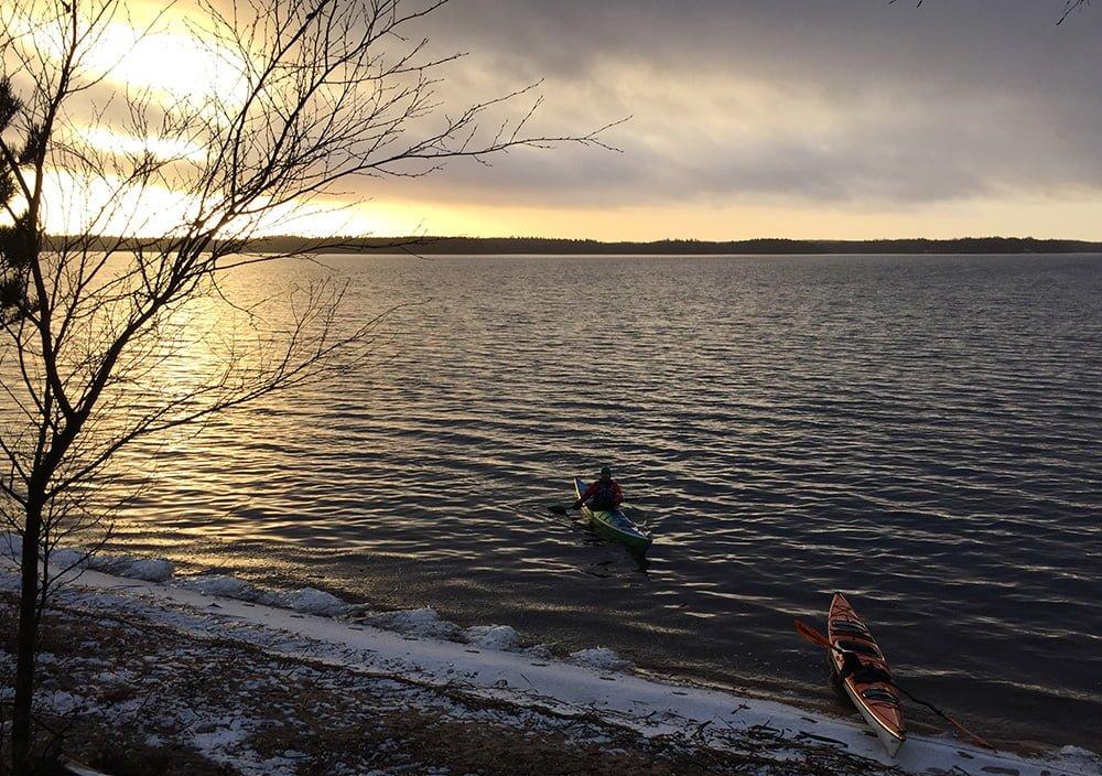 Västersjön i vinterväder