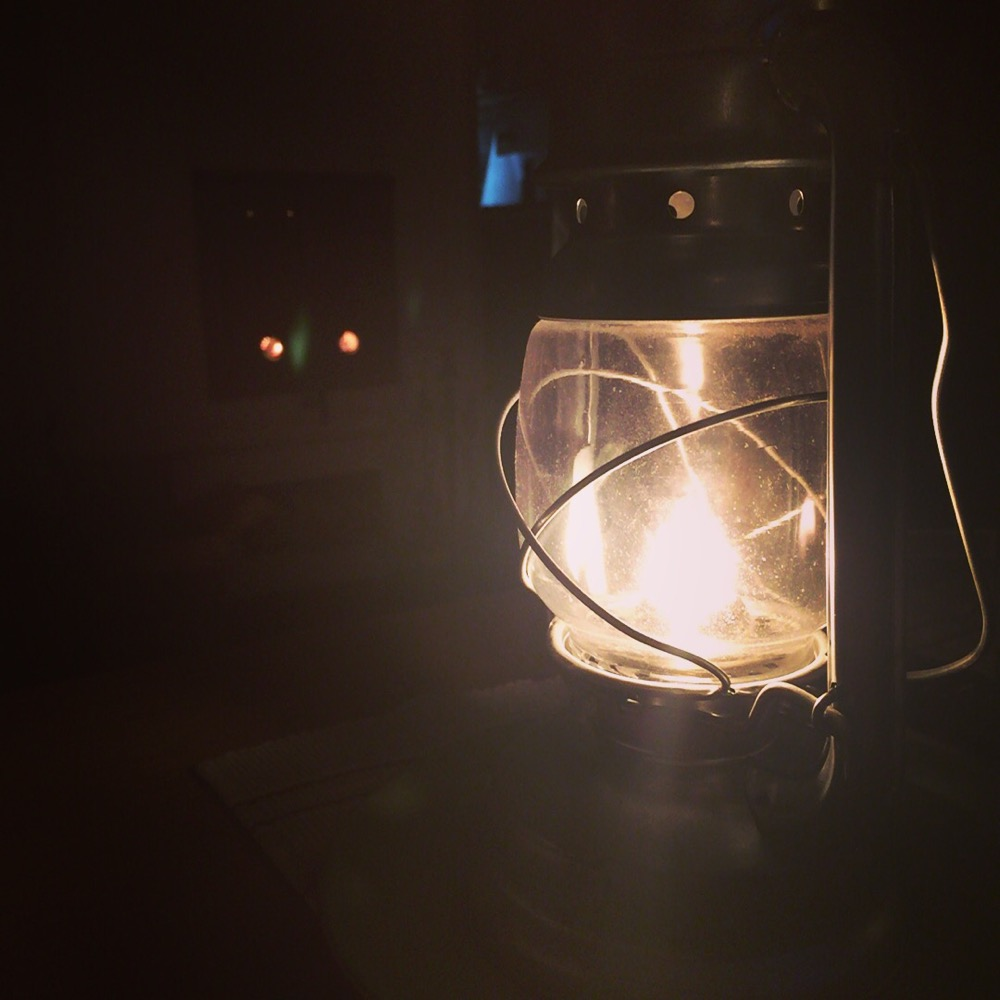 Mysigt med fotogenlampa