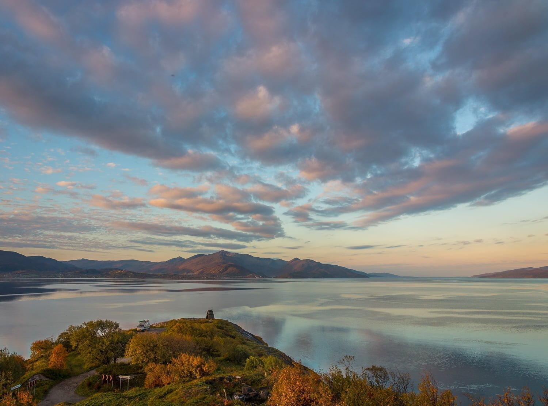 I närheten av Narvik, finfin udde med vatten på de flesta håll