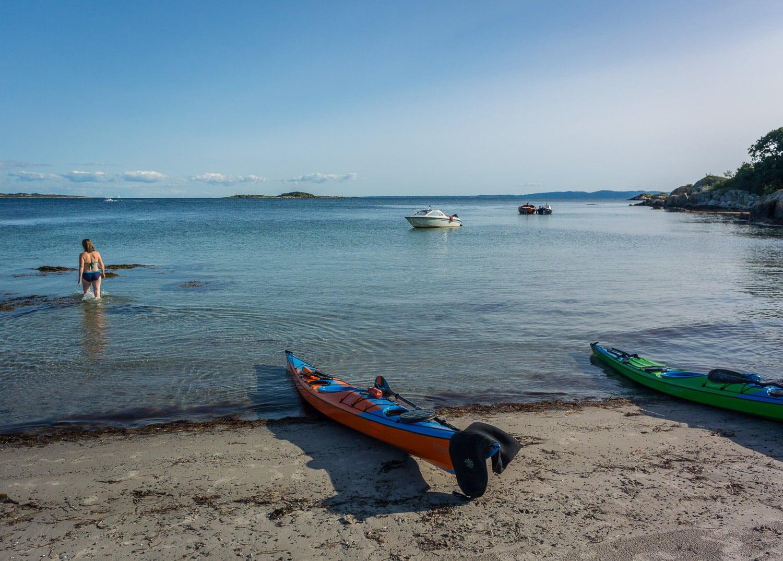 Bad vid Kohällan. Finfin strand och Hallands väderös mest ostliga punkt