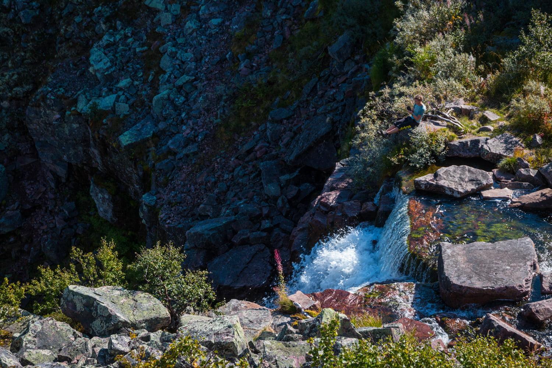 Fallets uppsida sett lite från klippan sidan om