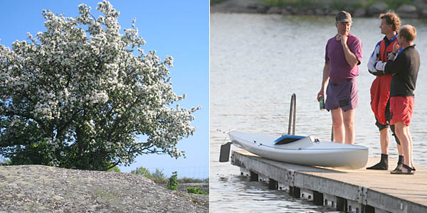 Fint på Bockö | Tre malmöiter i nån djup diskussion, troligtvis i hur man paddlar fort...rakt fram