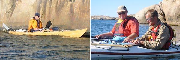 Olle glider fram nära klipporna|Lars-Åke och jag kollar kartan.