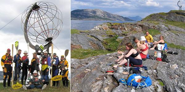 Gruppbild vid Polcirkelmärket på Vikingen | Lunch på Vikingen